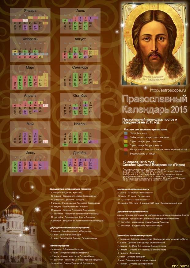 Православный Церковный календарь 2015