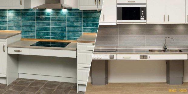 уровень столешницы и плиты регулируются по желанию владельца