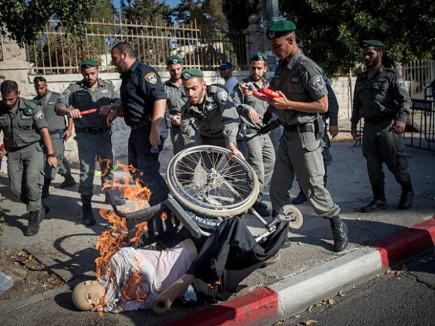 Акция протеста инвалидов в Иерусалиме