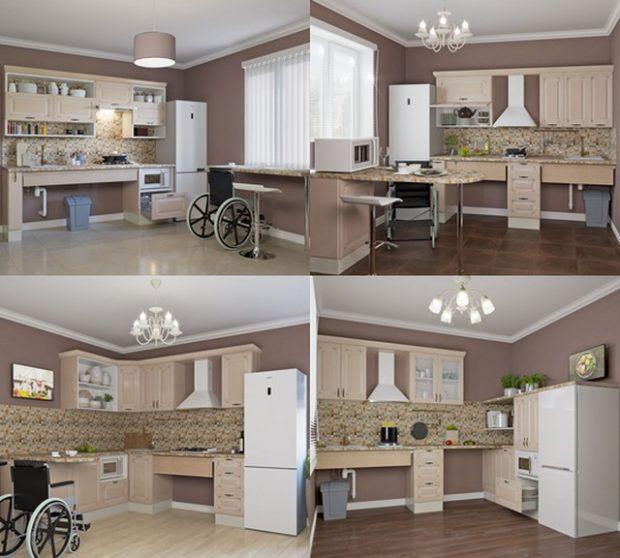 Кухни «Ницца» для колясочников