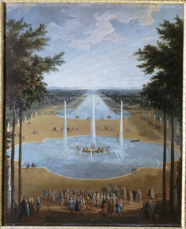 """Картина 1713 года - """"Vue du bassin d'Apollon et du Grand Canal de Versailles en 1713"""" автор Pierre-Denis Martin"""