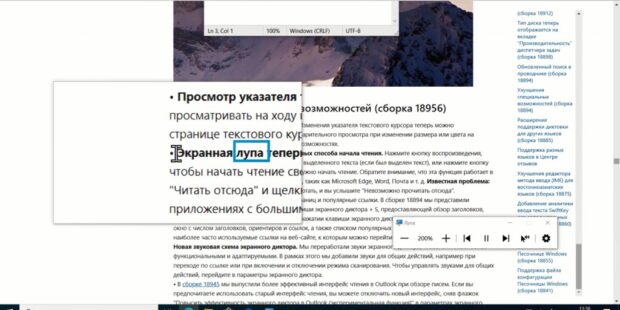 Экранная лупа в Windows 10