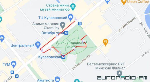 Красным цветом отмечен маршрут, который пришлось бы преодолеть Людмиле, если бы она решила воспользоваться лифтом